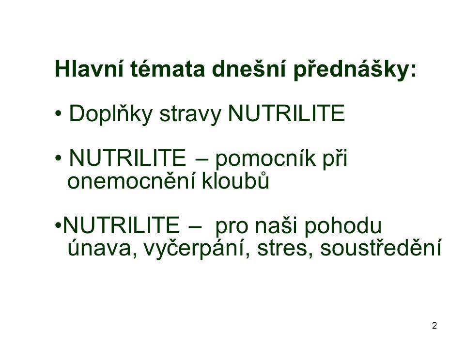 Hlavní témata dnešní přednášky: Doplňky stravy NUTRILITE