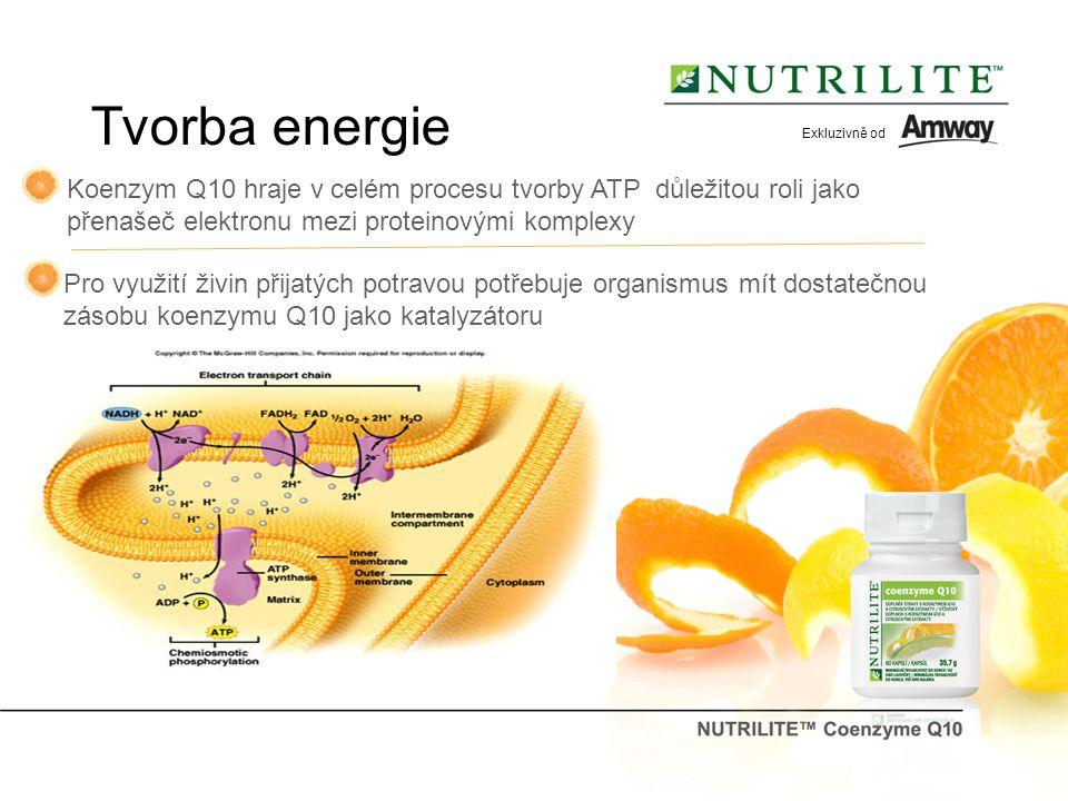 Exkluzivně od Tvorba energie. Koenzym Q10 hraje v celém procesu tvorby ATP důležitou roli jako. přenašeč elektronu mezi proteinovými komplexy.