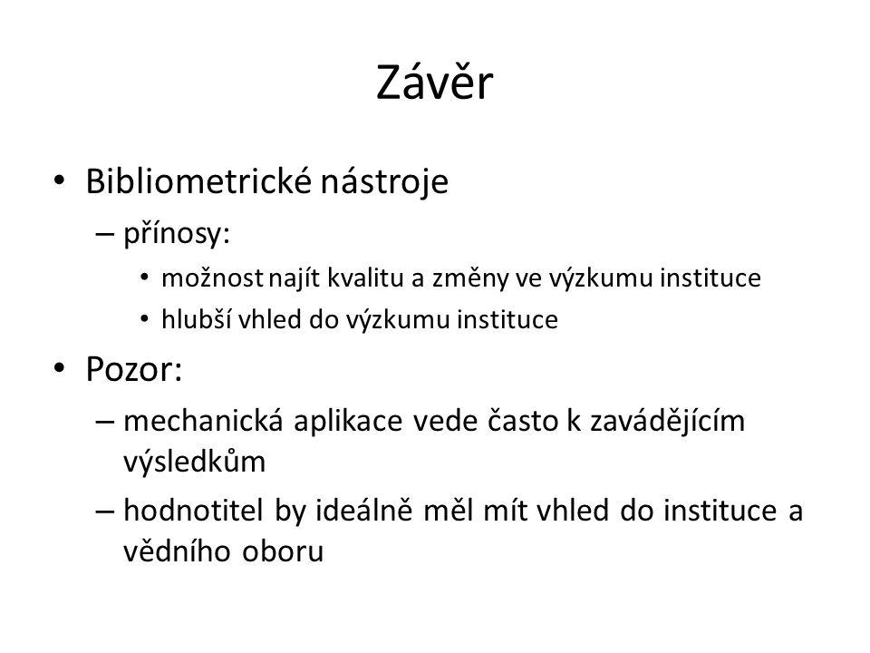 Závěr Bibliometrické nástroje Pozor: přínosy: