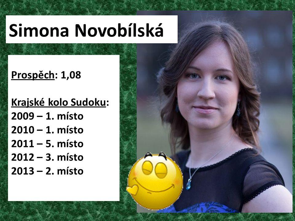Simona Novobílská Prospěch: 1,08 Krajské kolo Sudoku: 2009 – 1. místo
