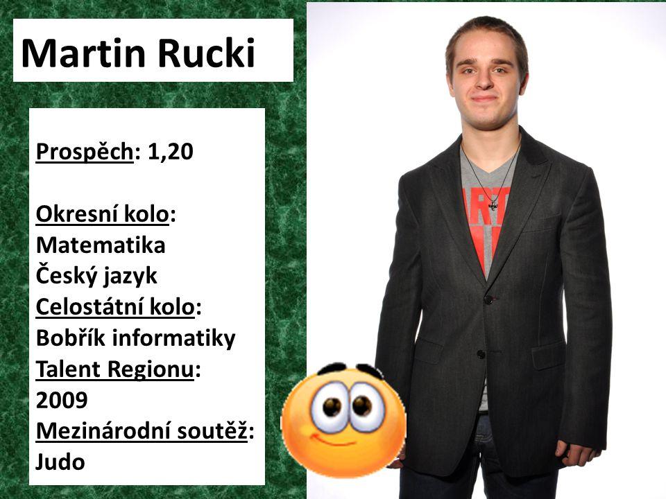 Martin Rucki Prospěch: 1,20 Okresní kolo: Matematika Český jazyk