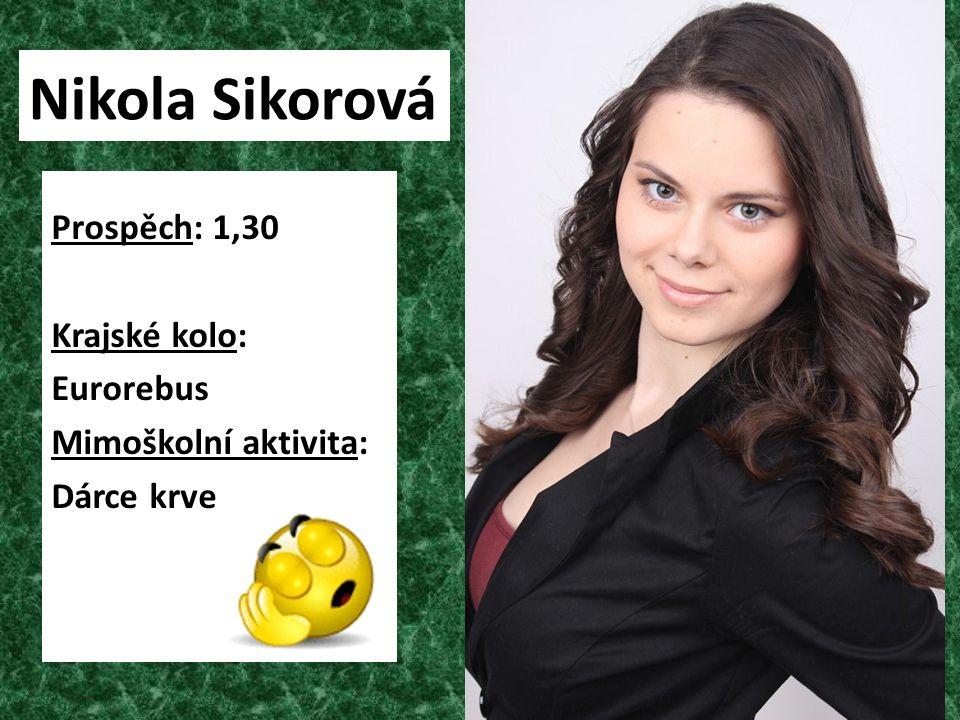 Nikola Sikorová Prospěch: 1,30 Krajské kolo: Eurorebus