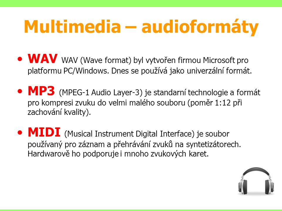 Multimedia – audioformáty
