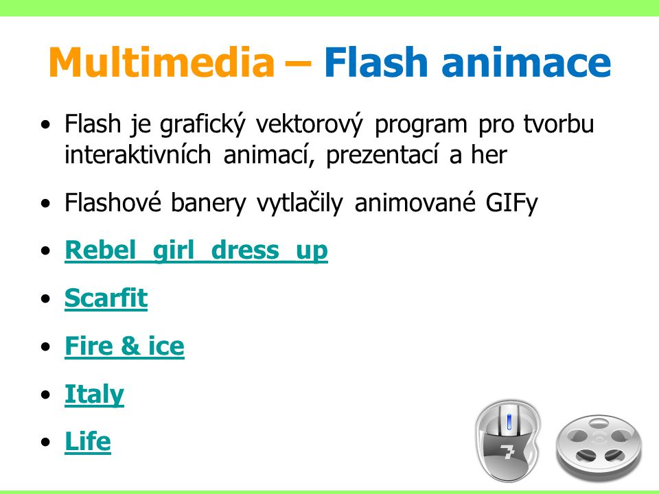 Multimedia – Flash animace