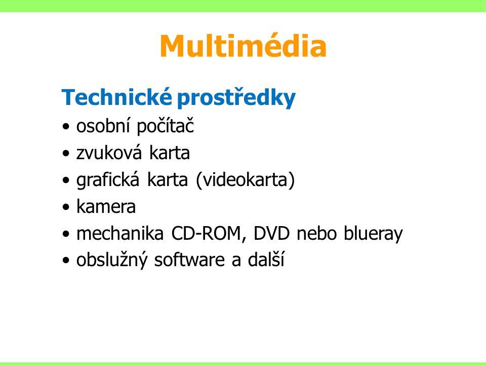 Multimédia Technické prostředky osobní počítač zvuková karta