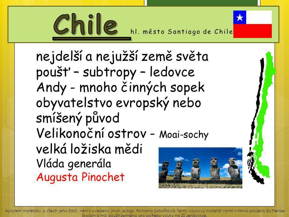 Chile hl. město Santiago de Chile