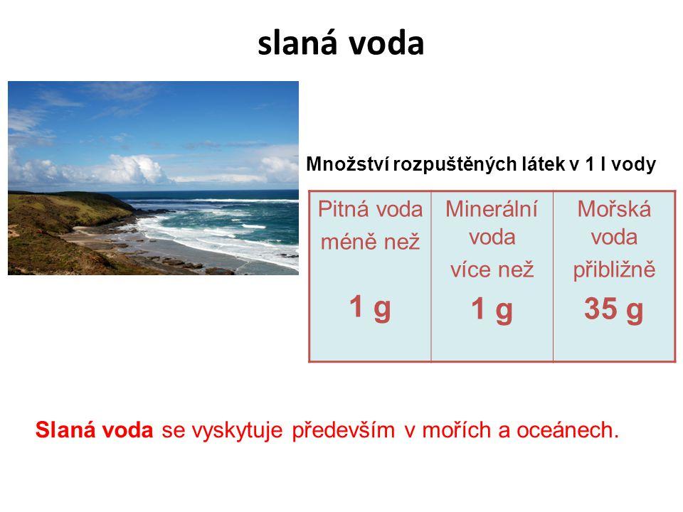 slaná voda 35 g Pitná voda méně než 1 g Minerální voda více než