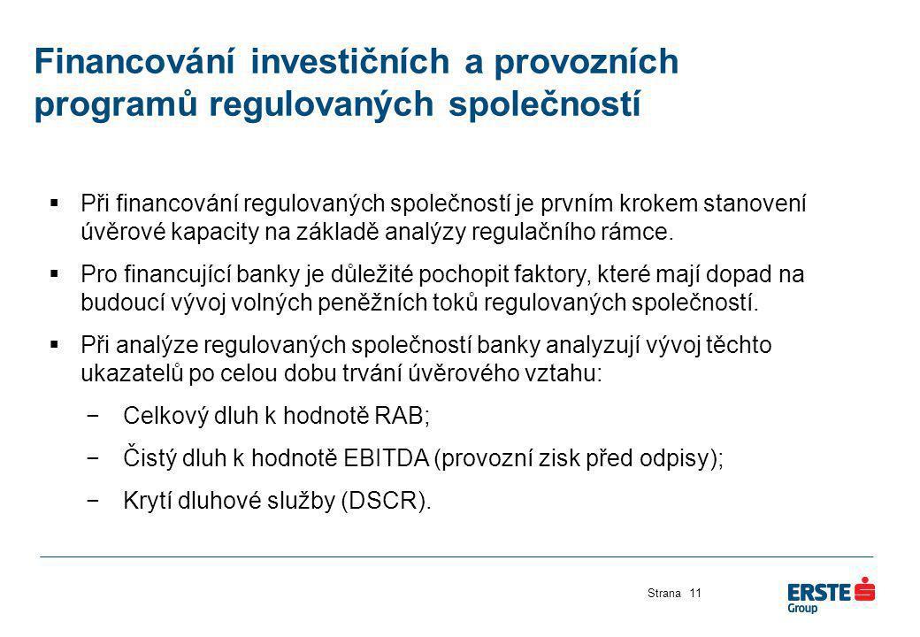 Financování investičních a provozních programů regulovaných společností