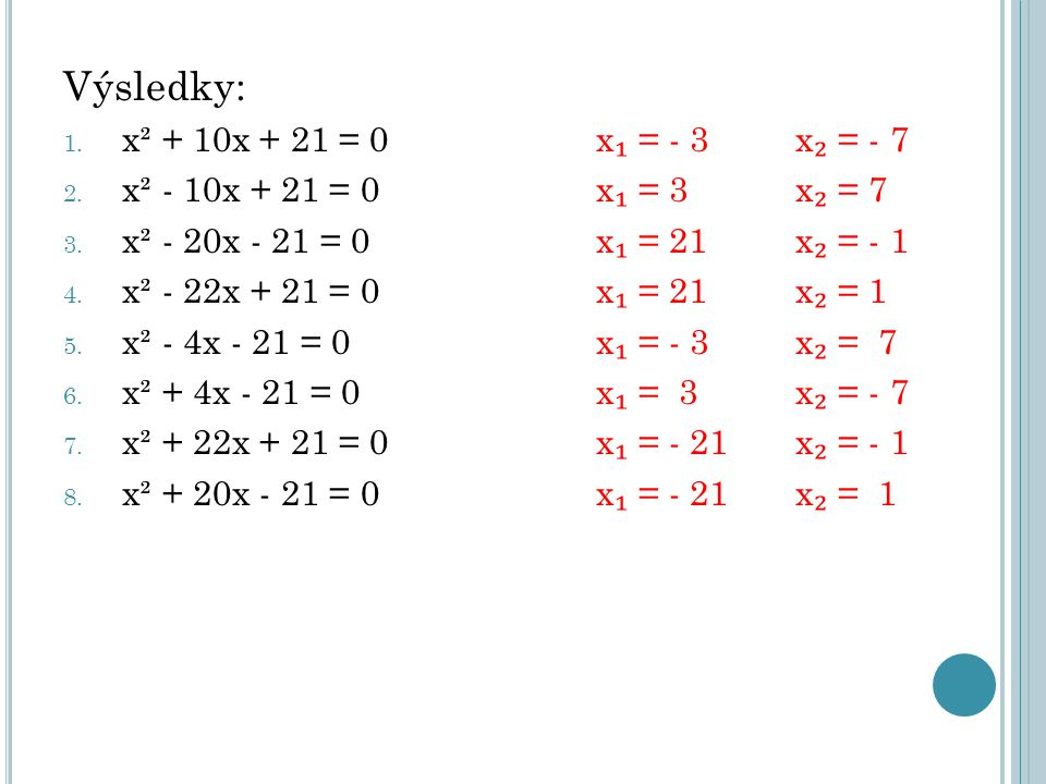 Výsledky: x² + 10x + 21 = 0 x₁ = - 3 x₂ = - 7