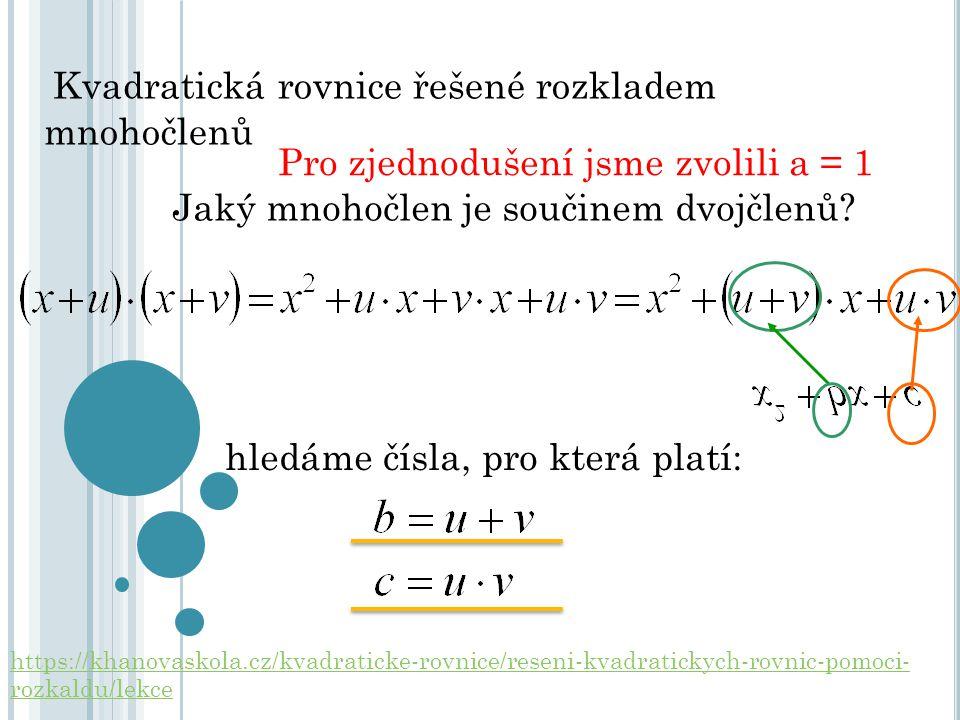 Kvadratická rovnice řešené rozkladem mnohočlenů