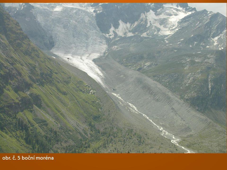 obr. č. 5 boční moréna obr. č. 3 kar = ledovcový kotel. obr. č. 2 ledovcové údolí = trog. obr. č. 4 fjord – mořem zalité ledovcové údolí.