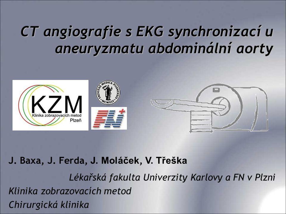 CT angiografie s EKG synchronizací u aneuryzmatu abdominální aorty