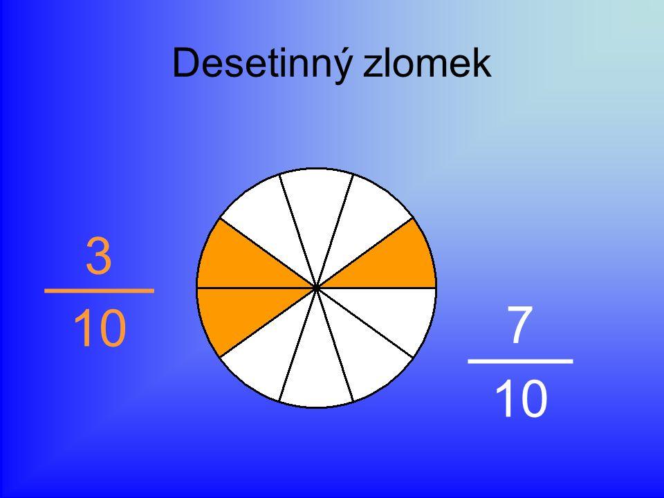 Desetinný zlomek 3 10 7 10