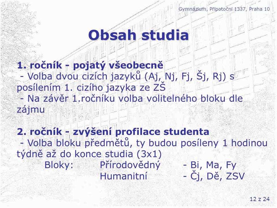 Obsah studia 1. ročník - pojatý všeobecně