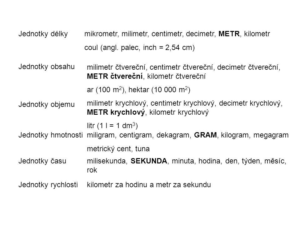 Jednotky délky mikrometr, milimetr, centimetr, decimetr, METR, kilometr. coul (angl. palec, inch = 2,54 cm)
