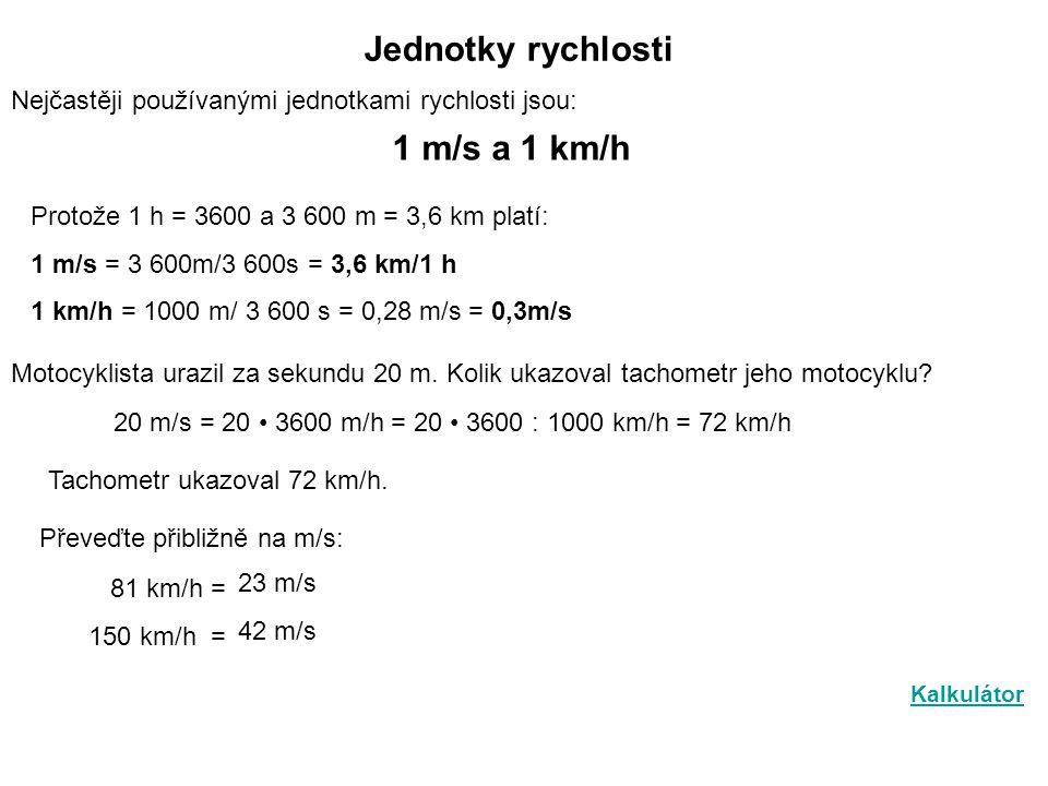 Jednotky rychlosti 1 m/s a 1 km/h