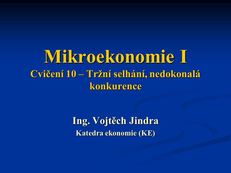 Mikroekonomie I Cvičení 10 – Tržní selhání, nedokonalá konkurence