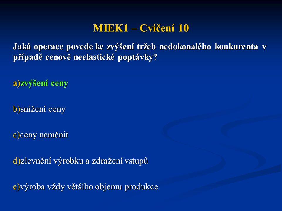 MIEK1 – Cvičení 10 Jaká operace povede ke zvýšení tržeb nedokonalého konkurenta v případě cenově neelastické poptávky