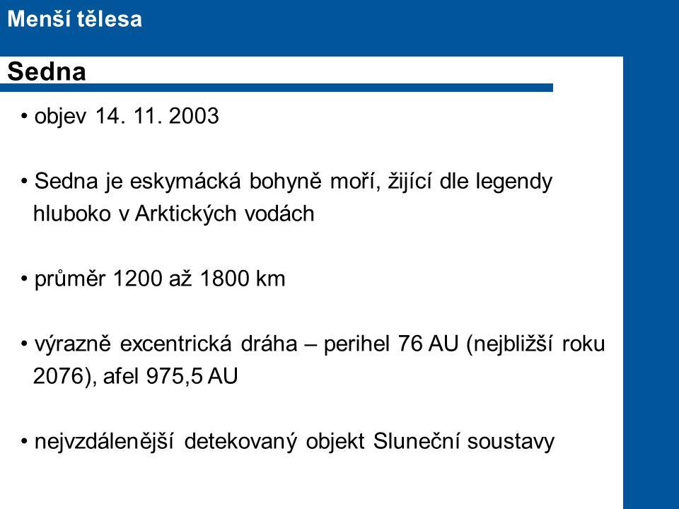 Sedna Menší tělesa objev 14. 11. 2003
