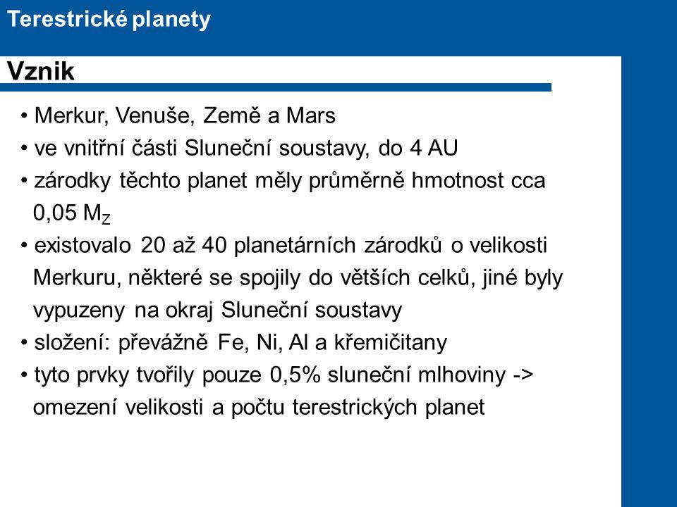 Vznik Terestrické planety Merkur, Venuše, Země a Mars