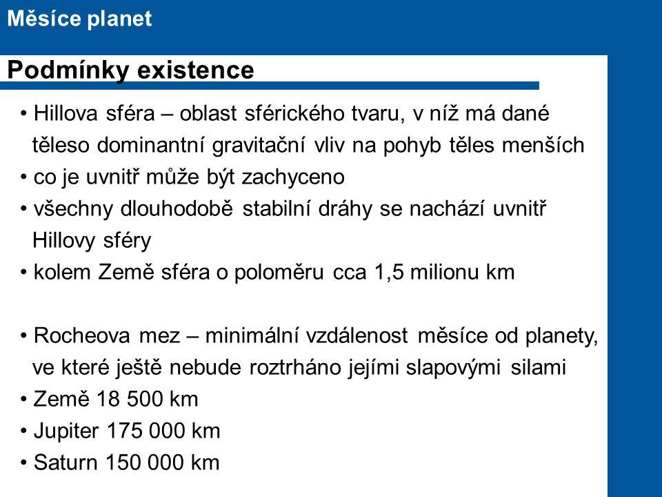 Podmínky existence Měsíce planet