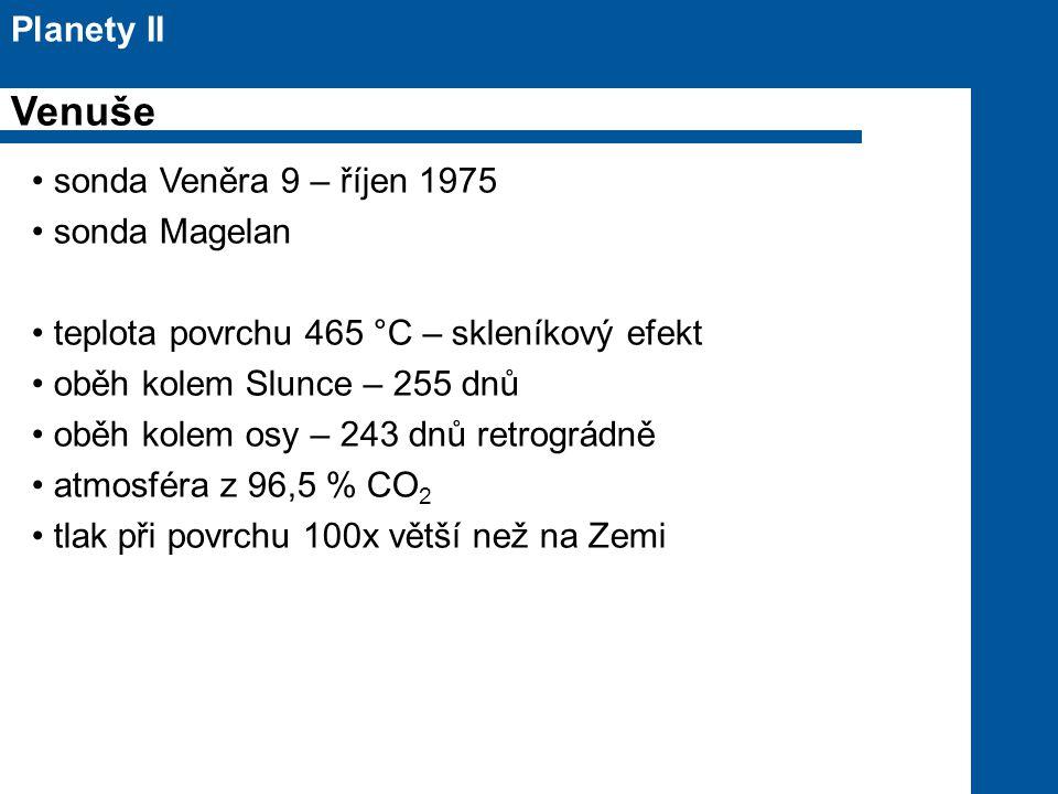 Venuše Planety II sonda Veněra 9 – říjen 1975 sonda Magelan