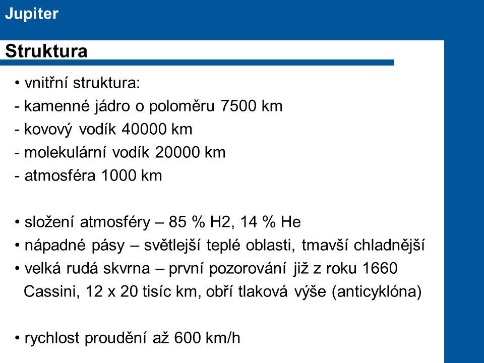 Struktura Jupiter vnitřní struktura: