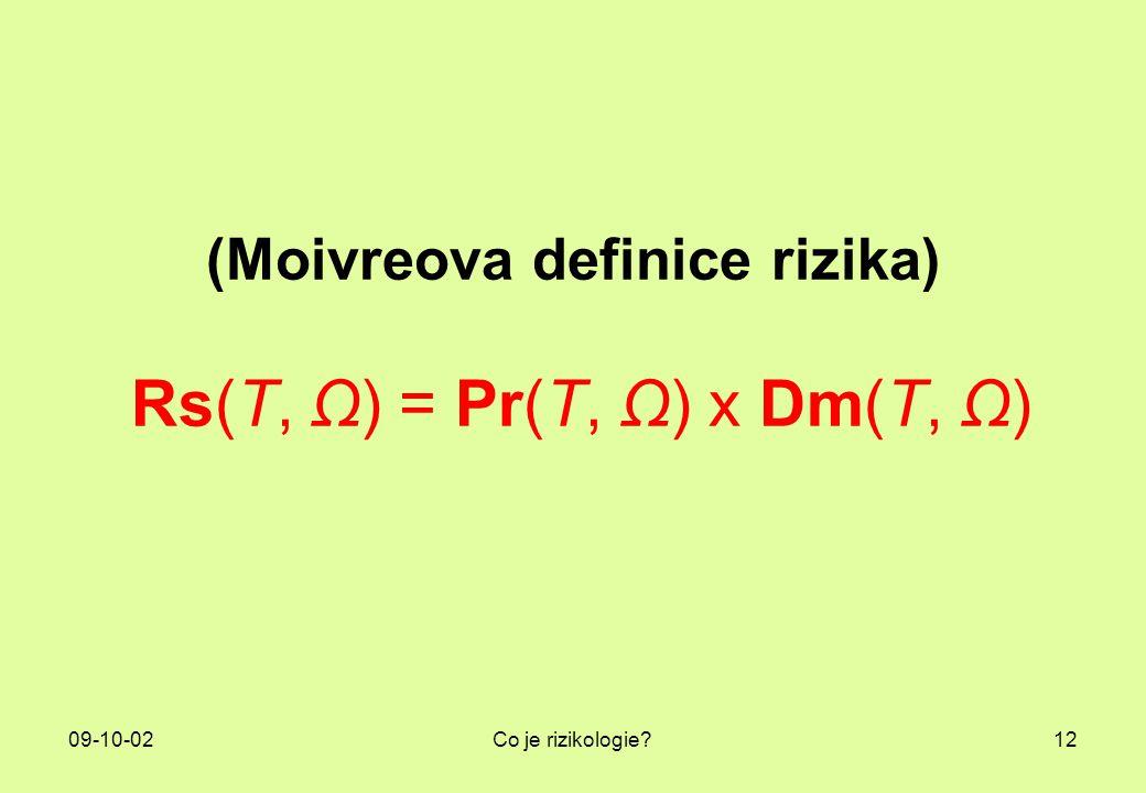 (Moivreova definice rizika) Rs(T, Ω) = Pr(T, Ω) x Dm(T, Ω)