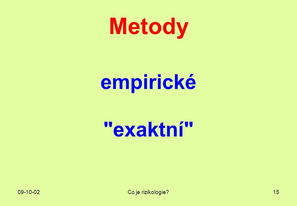 Metody empirické exaktní 09-10-02 Co je rizikologie