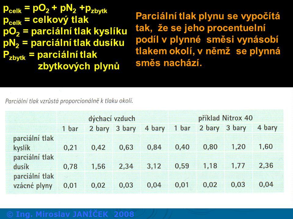 pO2 = parciální tlak kyslíku pN2 = parciální tlak dusíku