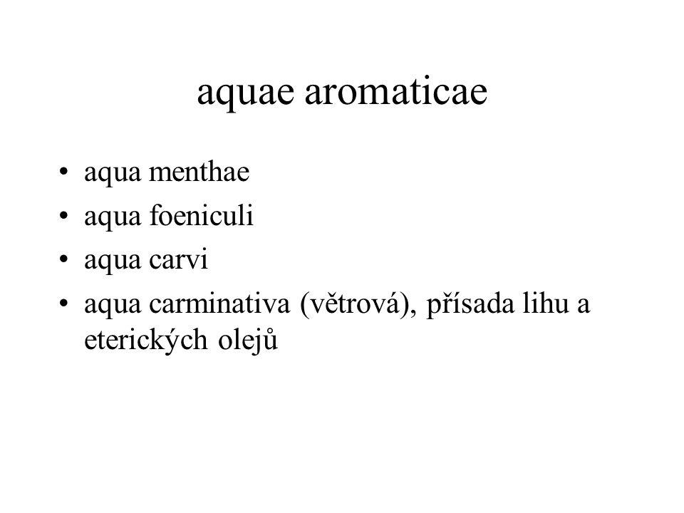 aquae aromaticae aqua menthae aqua foeniculi aqua carvi
