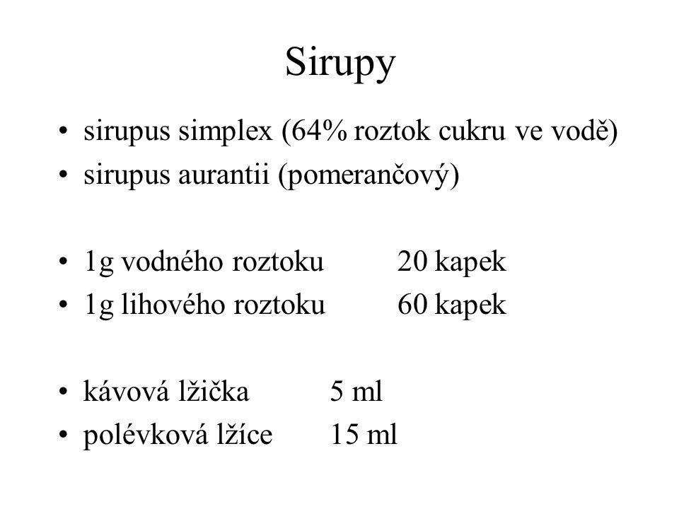 Sirupy sirupus simplex (64% roztok cukru ve vodě)