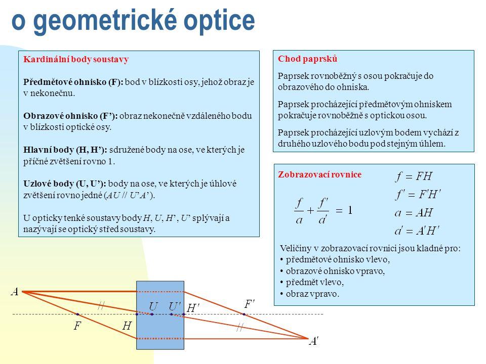 o geometrické optice Kardinální body soustavy Chod paprsků