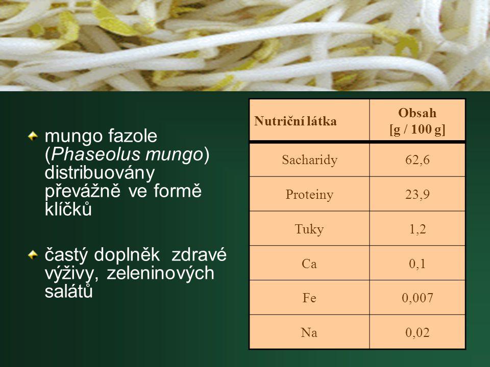 mungo fazole (Phaseolus mungo) distribuovány převážně ve formě klíčků