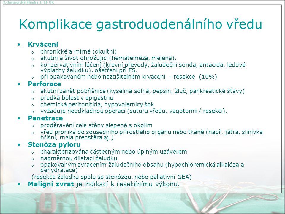 Komplikace gastroduodenálního vředu
