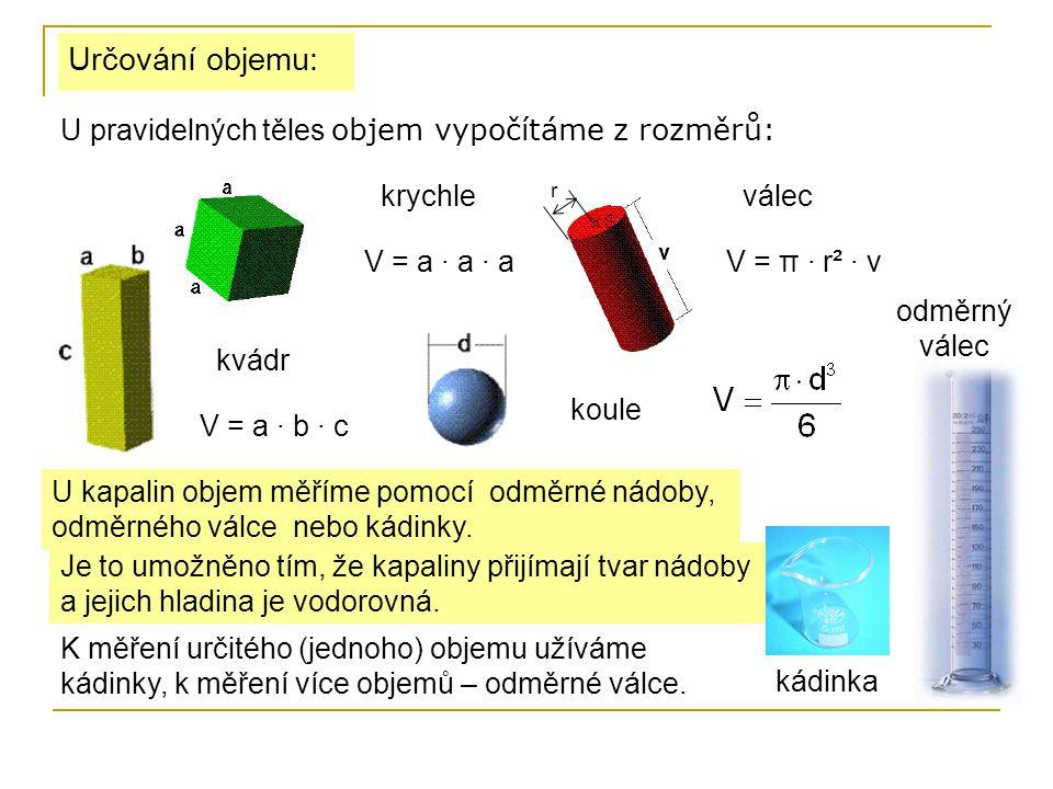 Určování objemu: U pravidelných těles objem vypočítáme z rozměrů: