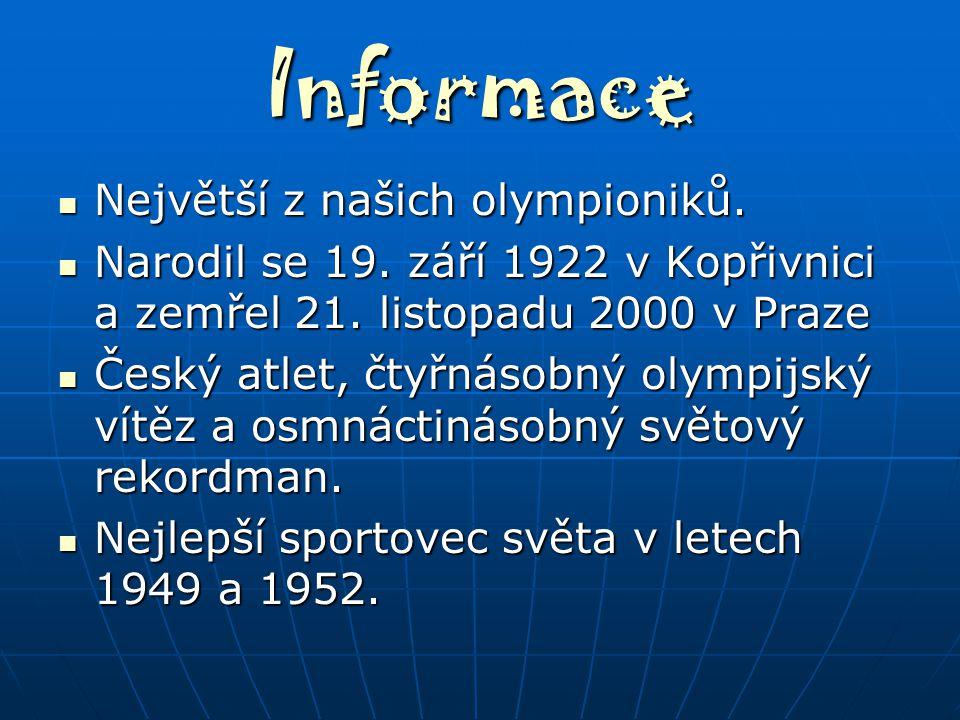 Informace Největší z našich olympioniků.