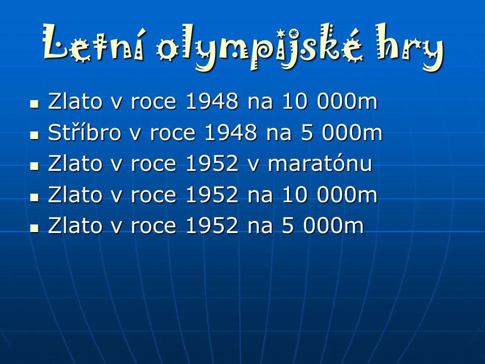 Letní olympijské hry Zlato v roce 1948 na 10 000m