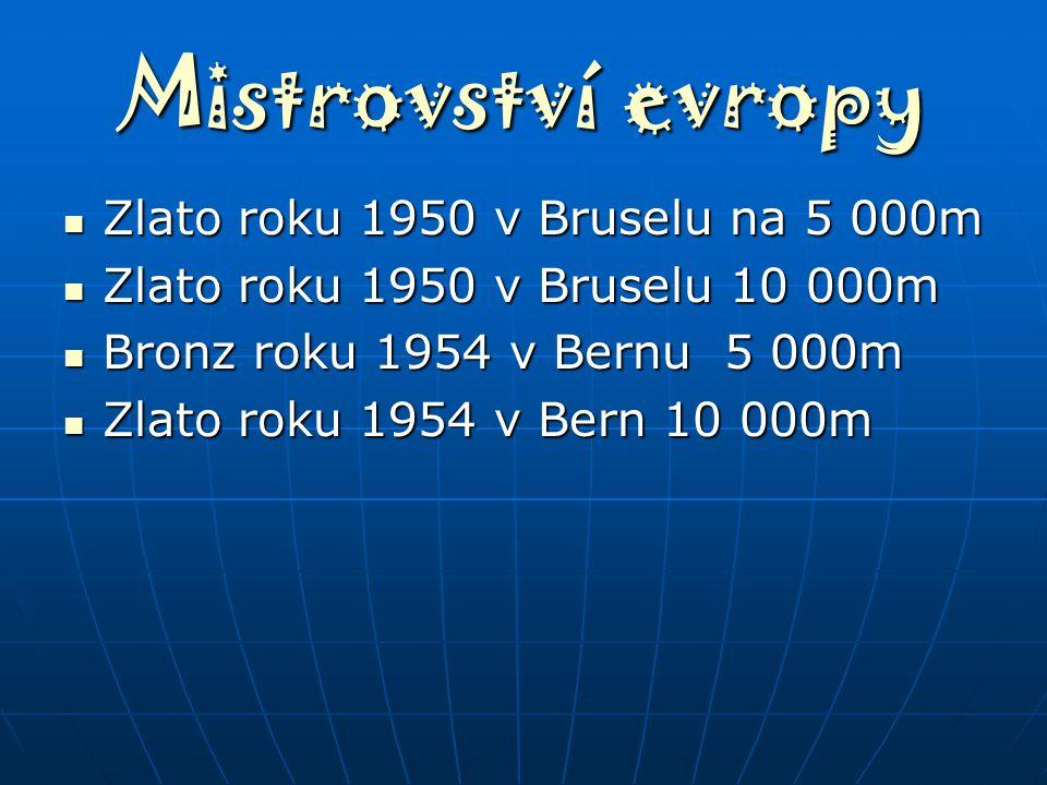 Mistrovství evropy Zlato roku 1950 v Bruselu na 5 000m