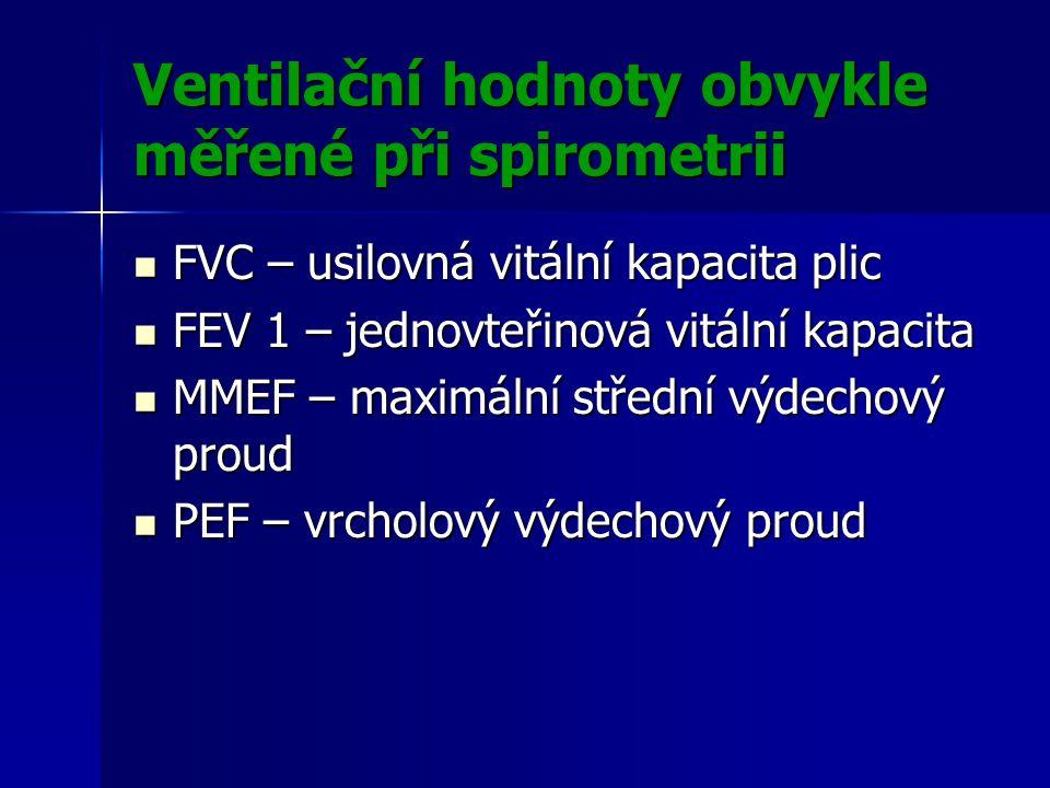 Ventilační hodnoty obvykle měřené při spirometrii
