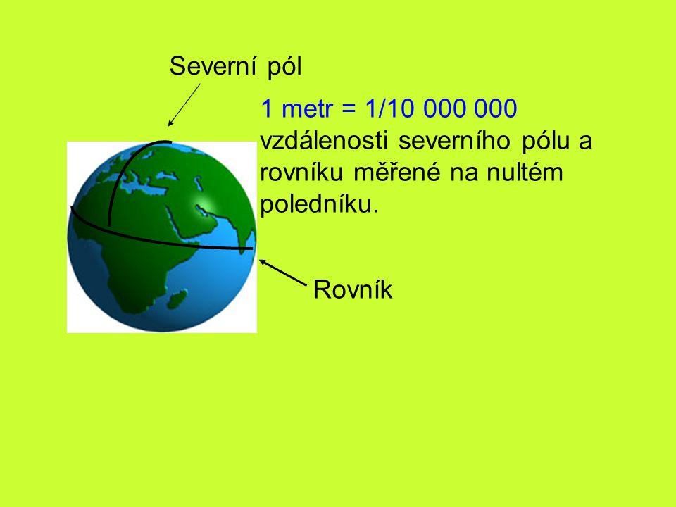 Severní pól 1 metr = 1/10 000 000. vzdálenosti severního pólu a. rovníku měřené na nultém. poledníku.