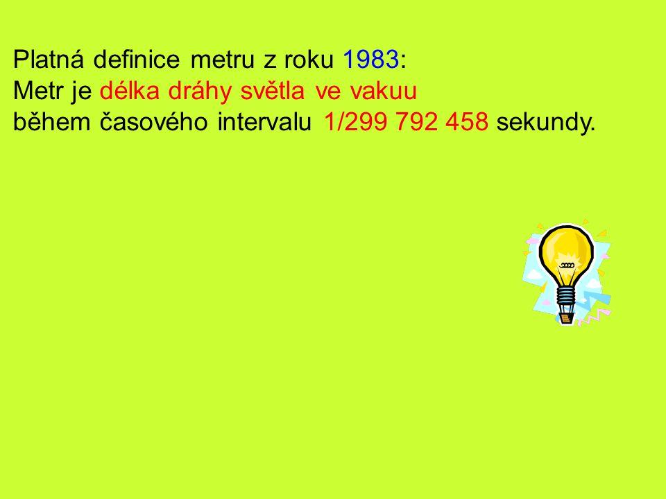 Platná definice metru z roku 1983:
