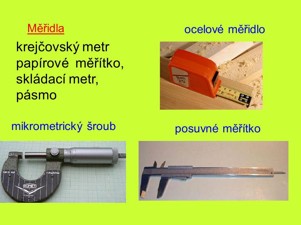krejčovský metr papírové měřítko, skládací metr, pásmo Měřidla