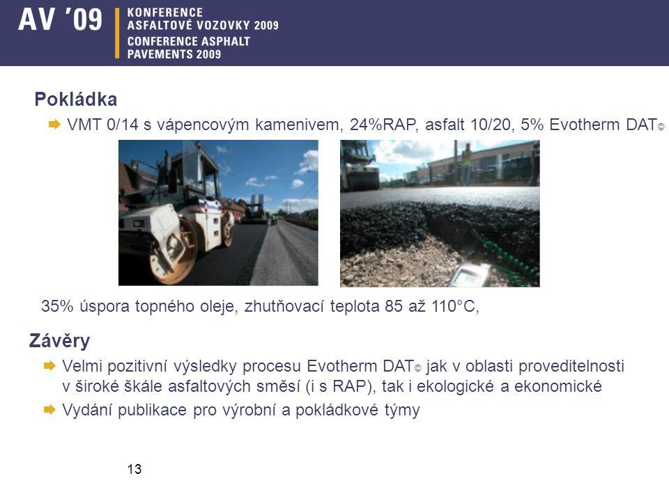 Pokládka VMT 0/14 s vápencovým kamenivem, 24%RAP, asfalt 10/20, 5% Evotherm DAT© 35% úspora topného oleje, zhutňovací teplota 85 až 110°C,