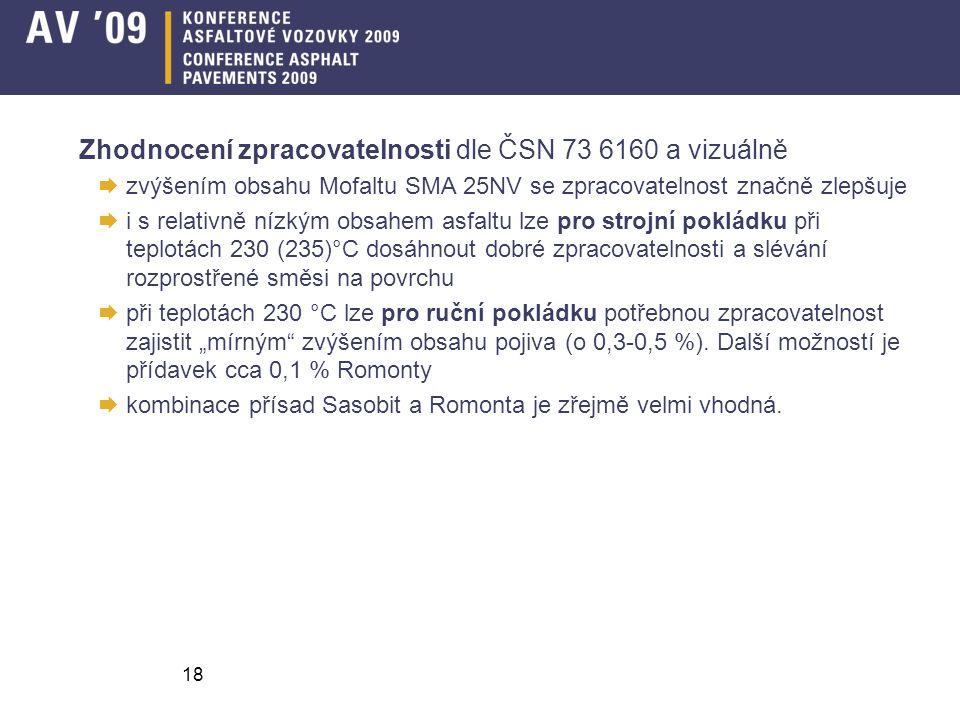 Zhodnocení zpracovatelnosti dle ČSN 73 6160 a vizuálně