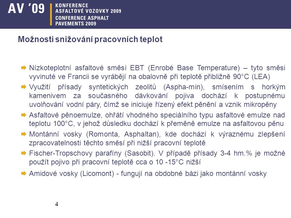 Možnosti snižování pracovních teplot