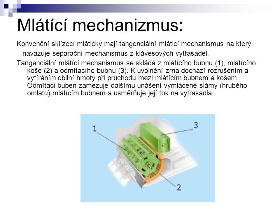 Mlátící mechanizmus: Konvenční sklízecí mlátičky mají tangenciální mláticí mechanismus na který.