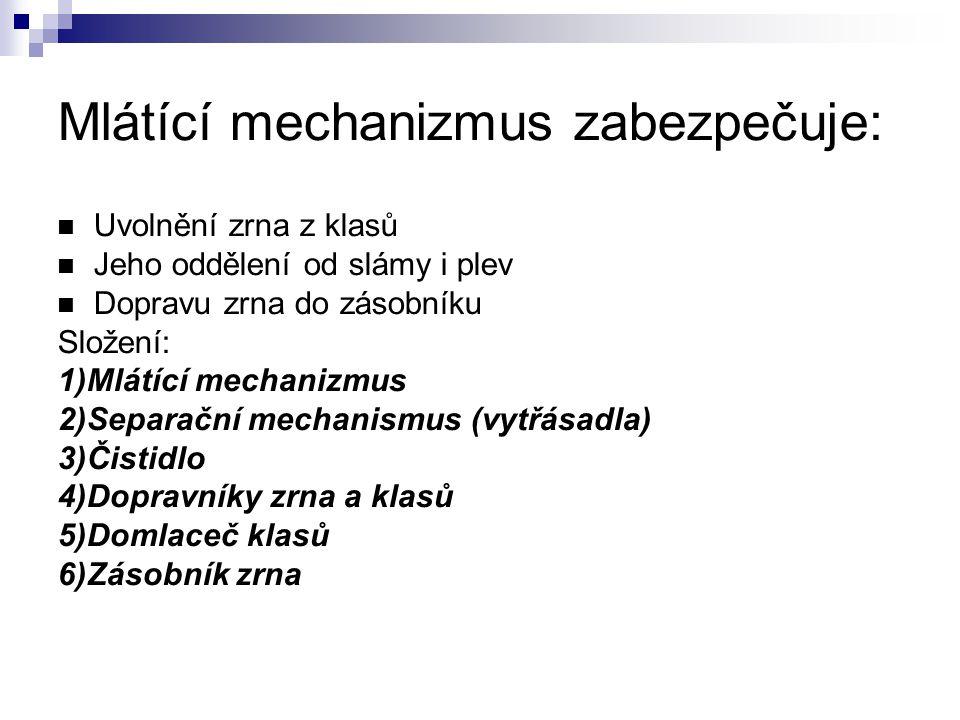 Mlátící mechanizmus zabezpečuje: