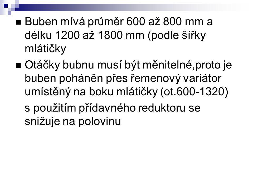 Buben mívá průměr 600 až 800 mm a délku 1200 až 1800 mm (podle šířky mlátičky