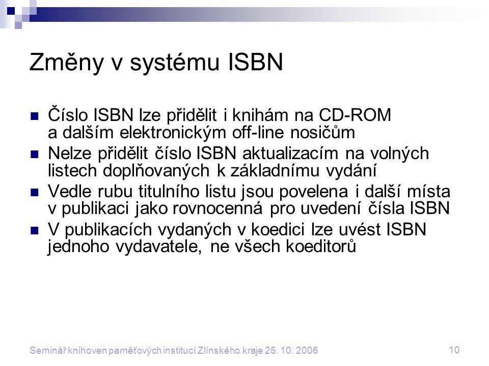 Změny v systému ISBN Číslo ISBN lze přidělit i knihám na CD-ROM a dalším elektronickým off-line nosičům.